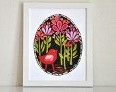 """Scarlet Bird - Midnight Garden Collection - 8x10"""" Print by Megan Jewel Designs"""
