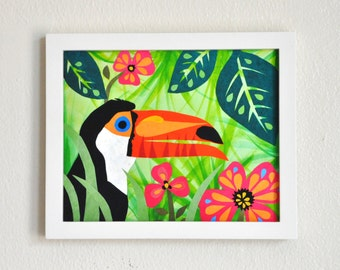 Tabitha Toucan, 8x10 Fine Art Print, Megan Jewel Designs, Tropical Wall Art, Toucan Print, Bird Art, Colorful Print, Beach Decor, Costa Rica