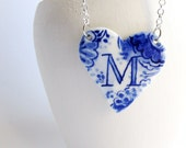 M- Monogram Heart  necklace - Hand made & Hand painted Blue and white Delftware porcelain.
