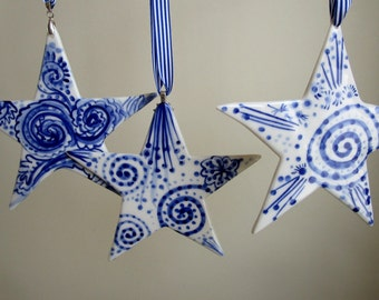 North  Star - Hand painted  Blue and white Delftware  porcelain ornament -Nordic- Dutch- Holland- Netherlands- Blue and white Delft Blue