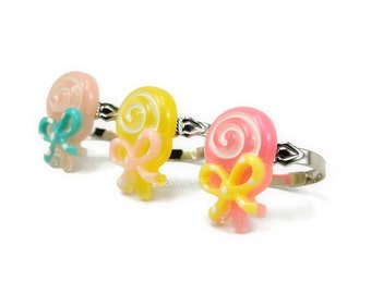1pc Lollipop Ring Kawaii Jewelry Swirl Lollipop Polka Dot Bow Ring Pastel Pink Yellow Pink Sweet Lolita Fairy Kei Jewelry