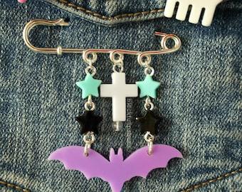 Pastel Goth Jewelry Star Bat Cross Brooch Pastel Kawaii Grunge Pin Creepy Cute Harajuku Fashion