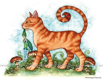 What The Cat Dragged In Cat and Fairy 8.5x11  PRINT by Amy Brown