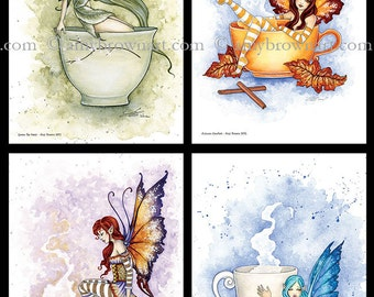 Fairy coffee tea mini-print set 6x9 fantasy art