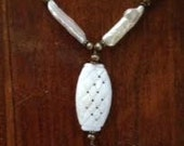 Beautiful and Unusual Elongated Pearl, Shell Tassle  Sterling Necklace