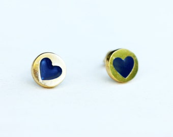 Blue and Gold Vintage Heart Studs