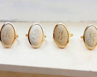 Signet Ring Oval, Gold Signet Ring, Vintage Signet Ring, Initial Ring, Initial Signet Ring, Monogram Ring, a,b,e,f,g,h,j,k,m,n,p,r,s,t,w