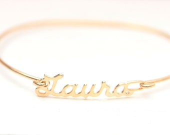 Laura Name Bracelet, Laura Bracelet, Laura, Name Bracelet, Gold Name Bracelet, Gold Wire Bracelet, Gold Hook Bracelet, Gold Hinge Bracelet