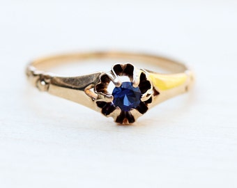 10K Delicate Victorian Sapphire Ring - Size 6.5