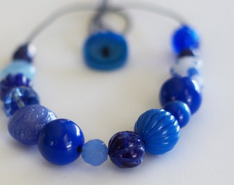 CLEARANCE SALE!!  Evening Blues Chunky Beaded Necklace--Adjustable--Metal Free