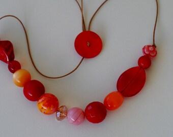 HUGE SALE!!  Tangerine.  Long Chunky Beaded Adjustable Necklace.  Metal Free