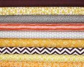 Organic Cotton Bundle, Birch, Cloud9 Organics, Unisex Baby Fabric, Mahogany,Brown,Yellow,Gold,Orange, Grey, in half yards,FREE U.S. SHIPPING