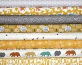 Organic Cotton Bundle, Woodland, Rustic, Unisex, Baby, Fabric, Yellow, Gold, Grey, Birch Organic,Cloud9 Organics,in half yards,FREE SHIPPING