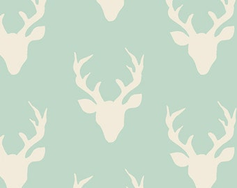 Hello, Bear Fabric, Buck Forest Mint, Deer, White, Mint Green, Stag, Designer Cotton, Bonnie Christine, Baby Boy, Baby Girl, In Custom Cuts