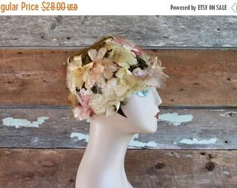 SALE 1960s hat / 60s floral bucket hat / pastel flower petals hat / garden party hat / flower crown