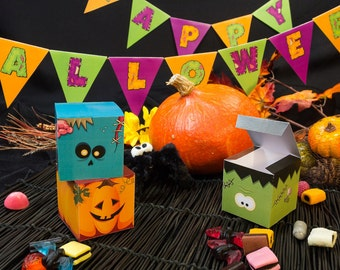 Halloween Monsters printable candy favor boxes zombie, pumpkin and frankenstein PP015 instant download