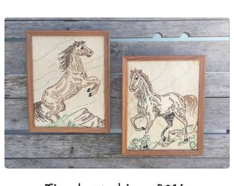Crewel Embroidery - Horse Stitchery -Crewel Art - Rustic Decor - Horse Decor - Country Western - Farmhouse Chic