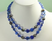 Blue AB Crystal Necklace Two Strands Choker Rhinestone Rondelles Vintage