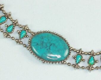 CIJ Sale Simulated Turquoise Bracelet Southwestern Style Silver Tone Metal  Vintage