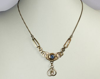 Simulated Blue Gemstone Pendant Necklace Gold Filled Art Nouveau Style Vintage