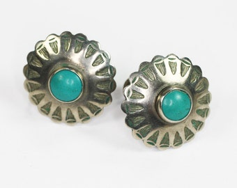 NA Design Turquoise and Sterling Earrings Round Incised Screw Back Vintage
