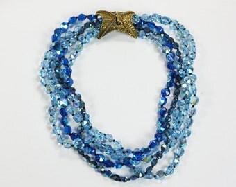 Blue AB Crystal Necklace Multi Strand Fancy Clasp Designer