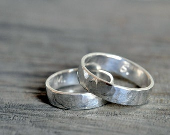 Silver Wedding Bands - Custom Stamping on the inside