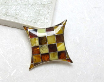 Sale - Contemporary Baltic Amber And Sterling Silver Brooch/Pin