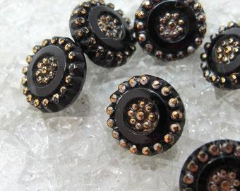 Six Victorian Black Glass Buttons