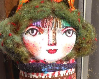 Original art doll Girl with green hair hand made , hand painted    OOAK by miliaart studio