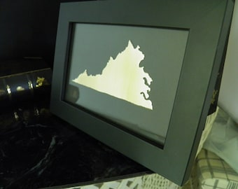 Virginia State Art ,  Framed Virginia State , State Metal Art - All States Available