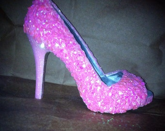 Sequined and glitter high heels for party or wedding.  You choose the colors you like. Completely customized.