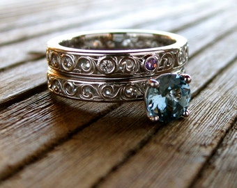 Aquamarine Engagement Ring & Matching Wedding Band with Diamonds in Platinum Size 5.5