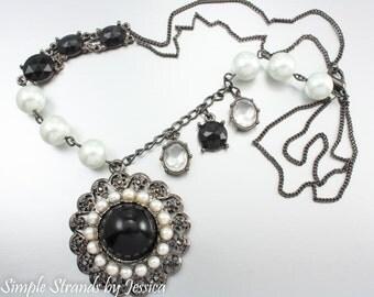 Black Swan beaded necklace