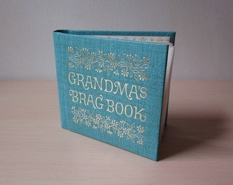 """Grandma's Brag Book by C.R. Gibson - 3.5"""" x 3.5"""" - Gold Embossed Turquoise Padded Cover"""