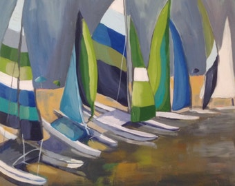 "Original Painting , 20 x 20, Folk art, modern, abstract, sailboats,""Lining Up"""