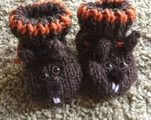 Handknit Oregon State Beaver Baby Booties Made to Order