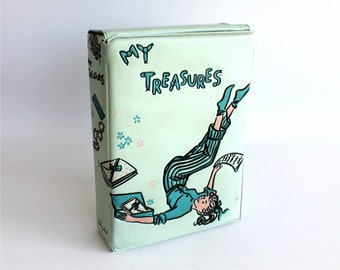 Vintage Ponytail Keepsake Treasure Memory Box Mid Century Teen Room Decor Powder Blue Vinyl