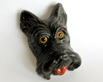 Vintage Scottie Dog Chalkware Plaque Home Wall Decor Dog Lover Gift