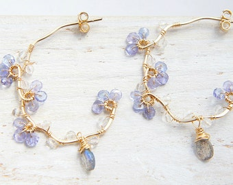 Forget me not Earrings, Tanzanite Blue Gemstone Earrings, Gold Vine Hoop