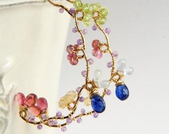 Sapphire Gold Earrings, Pink Tourmaline Earrings, Gemstones Large Hoop, Wedding Bridal Statement Earrings