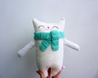 Stuffed Cat, Stuffed Animal, Cloth Cat, Doll Cat, Plush Cat, Nursery Decor, Cat Softie, Children Stuffed, White Cat - Gift For Cat Lover