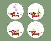 Dachshund Holiday Stickers - Set of 48 - Christmas Doxie Dog Round Stickers