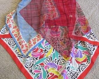 Upcycled artsy tank tunic sz M refashion vintage scarves festival handkerchief hem reds funky original