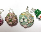 RESERVED FOR CAROL, Necklace Charms, Silver, Lampwork