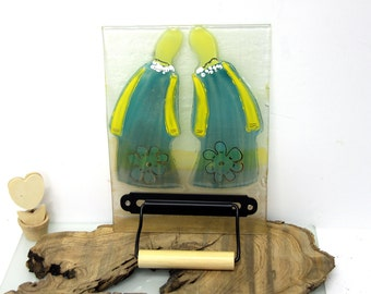 Toilet Paper Holder  Bathroom Decor, Turquoise couple, Fused Glass Couple tile image Wall Art