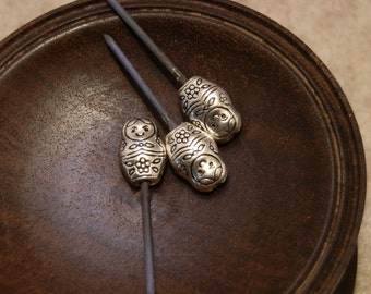 Pewter Russian doll beads - laceweight