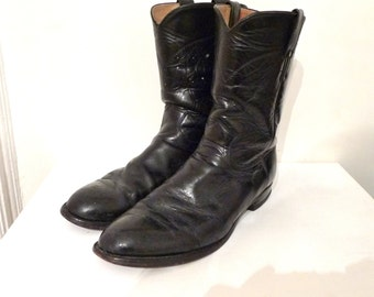 sale VTG black justin roper boots leather men's sz 11 and a half 11 5 distressed pull on billy billie retro modern old cowboy western boot