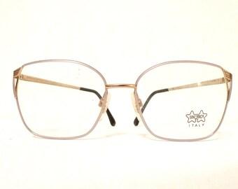 Mod Le Star Big Luxottica Lavender Glasses Aviator Never Used Eyeglass Frame Italy 70s 80s Pastel Sunglasses Designer Eyewear Disco Metal
