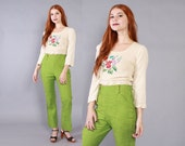 Vintage 60s PANTS / 1960s Bright LIME Green High Waisted Western Pants XS - S